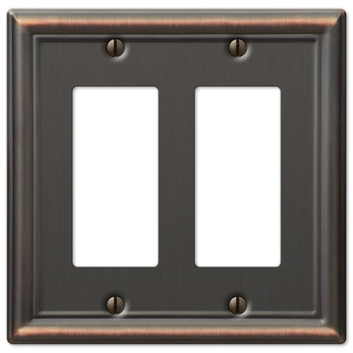 Double GFCI Decora Rocker Wall Switch Plate Outlet Cover - Oil Rubbed Bronze