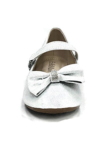 Mary Jane Flats Bow 21K Silver Anna Shoes Nude Glitter Girls wSqRRI