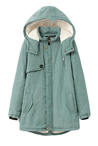 Cromoncent Womens Winter Plus Size Wool-Lined Hooded Parkas Jackets Coat Green 4X-Large by Cromoncent