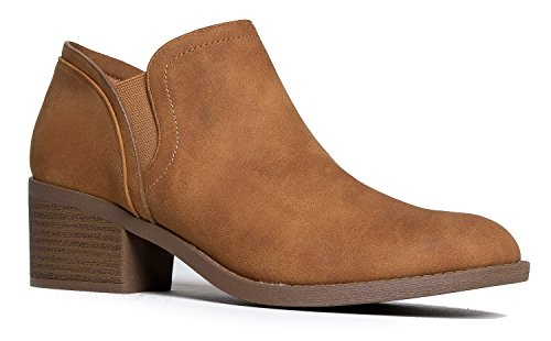 J. Adams Low Heel Ankle Bootie – Western Round Toe Boot – Casual Comfortable Slip Shoe - Gobi - Shorts Most Comfortable