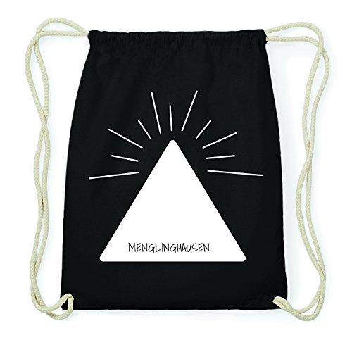 JOllify MENGLINGHAUSEN Hipster Turnbeutel Tasche Rucksack aus Baumwolle - Farbe: schwarz Design: Pyramide