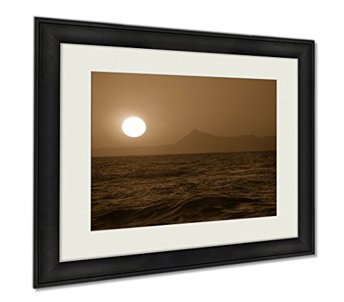 Ashley Framed Prints Beautiful Crete Sunset, Wall Art Home Decoration, Sepia, 26x30 (frame size), AG6554836 by Ashley Framed Prints