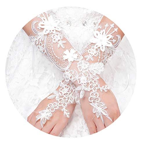 Fstrend Lace Flower Fingerless Gloves Pearl Wedding Bridal Glove for Women and Girls