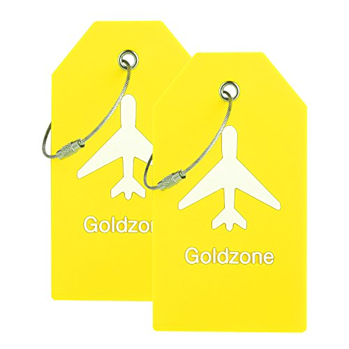PVC Rubber Luggage Tags w/Full Privacy Flap,Great for Luggage Cases Identification by Goldzone (Yellow-2 Pack)
