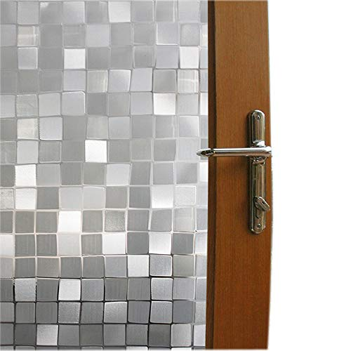 Bloss 3D No Glue Static Cling Privacy Window Film Door Sticker Glass Film Decorative Glass Mosaic Film 17.7'' x - Glass Stained Kitchen Cabinets