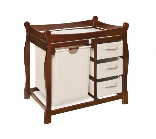 046605524022 - Badger Basket Sleigh Style Changing Table with Hamper/3 Baskets, Cherry carousel main 0
