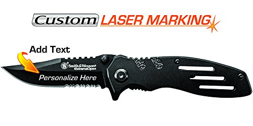 Custom Laser Engraved Knife - Smith & Wesson Extreme Ops Linerlock (SWA24S) by Smith & Wesson
