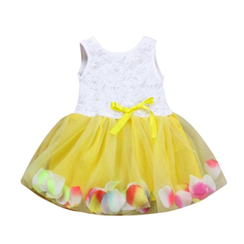 Flower Girl Fancy Dress Costumes (Peanutcool Toddler Infant Bowknot Tutu Petals Tulle Dresses Baby Girls Flower Gown Outfits (24 Months, Yellow))