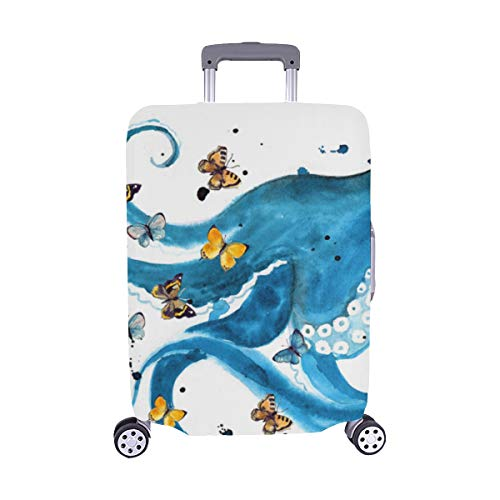 (Hand-drawn Octopus And Anchors Pattern Spandex Trolley Case Travel Luggage Protector Suitcase Cover 28.5 X 20.5 Inch)