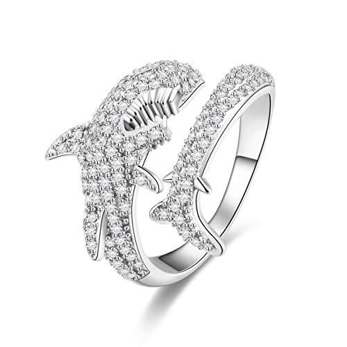 XINWOO 925 Sterling Silver, Shark Rings, Shark Show Female Power, Adjustable Design Openings (White) -