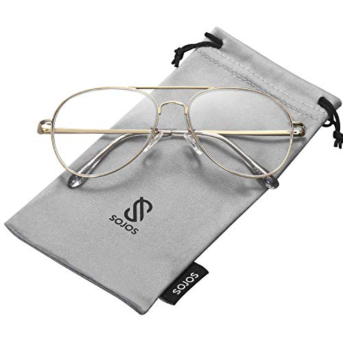 SOJOS Classic Aviator Clear Lens Eyeglasses Eyewear Metal Frame with Spring Hinges SJ1030 with Gold Frame/Clear ()