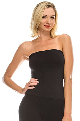 Lycra Shelf Bra - Kurve Medium Length Tube Top with Built-in Shelf Bra, UV Protective Fabric UPF 50+ (Made with Love in The USA) Black
