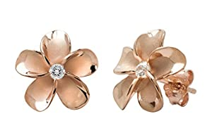 14k Rose Gold Plated Stering Silver CZ Plumeria Stud Earrings, 12mm