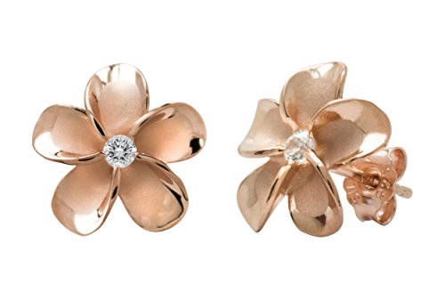 (14k Rose Gold Plated Stering Silver CZ Plumeria Stud Earrings, 12mm)