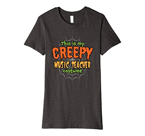 Womens Creepy Music Teacher Costume Premium Halloween T-Shirt XL Dark (Easy Teacher Costumes For Halloween)