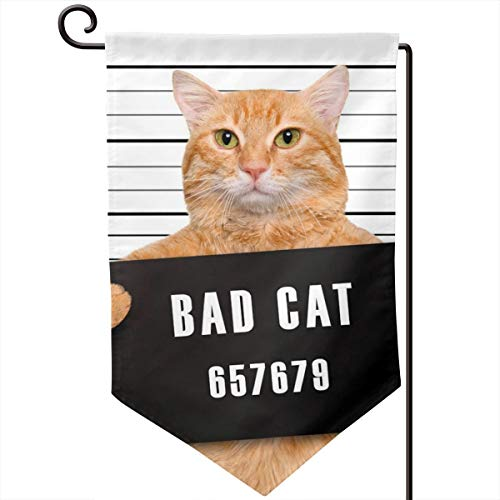Private Bath Customiz Bad Cat Funny Prisoner Criminal Garden Flag Vertical Double Sided 12.5 X 18 Inch Farmhouse Summer Yard Outdoor Decor Double Sided -