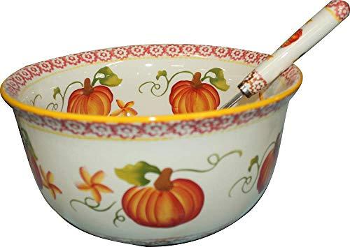 No Wire Rack OW Pumpkin 4.5 qt Bowl, Soup Tureen Mixing with Ladle Autumn Tkoutlet ()