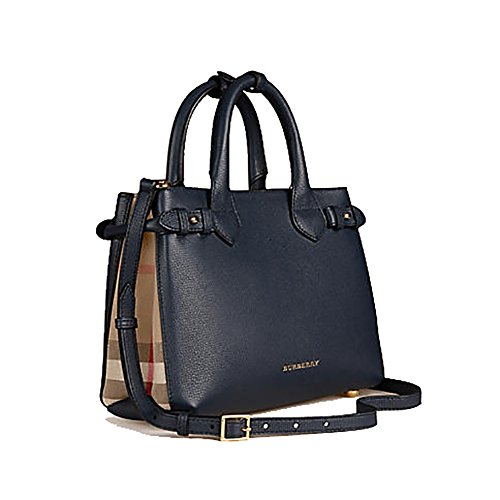 Tote Bag Handbag Authentic Burberrry The Small Banner in Leather and House Check Ink Blue Item 39830411 Made in Italy Burberry Check Shoulder Handbag