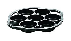 Lodge L7B3 Cast Iron Mini Cake Pan, Black