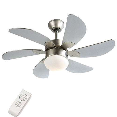 Fan Blade Classic Ceiling (Six-Blade Indoor Ceiling Fan with Light and Remote,30 inch Metal Classic Ceiling Fan)