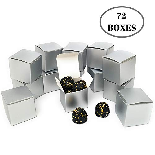 (Kelkaa Kraft Boxes - Gift Boxes with Lids, Silver Gift Candy Box Bulk, 72pcs 2x2x2
