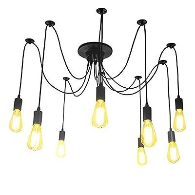 Lemonbest Vintage E27 Industrial Fixture Retro Pendant Light Ceiling Lamp Chandelier 8 Bulb Light Sockets