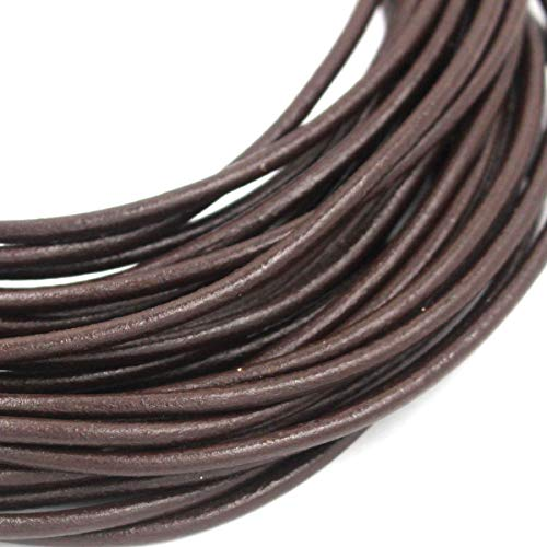 1mm 2mm 3mm 4mm Round Genuine Leather Strip Cord Black Erth Color Braiding String Firt Large Hole Gemstone Beads(11 Yards) (Coffee, 3mm)