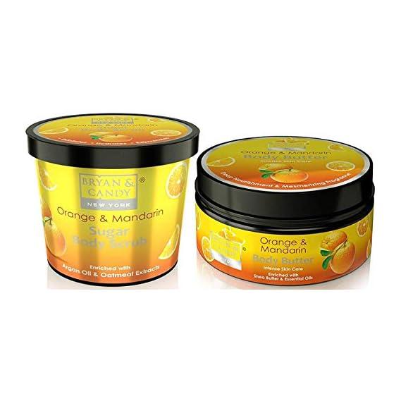 Bryan & Candy New York Body Polishing kit, Skin Care Combo, Orange & Mandarin Sugar Body Scrub 100gm, Body Butter 100gm, Paraben free