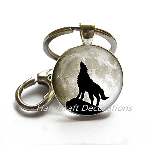 HOWLING WOLF Keychain wolf Key Ring wolf jewelry gift for women gift for her gift for man handmade Keychain gift idea halloween gift.F104