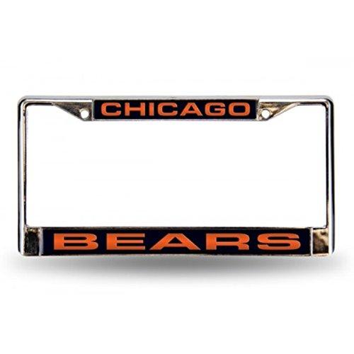 NFL Chicago Bears Laser Cut Chrome Plate Frame (Chicago License Bears Plate Laser)