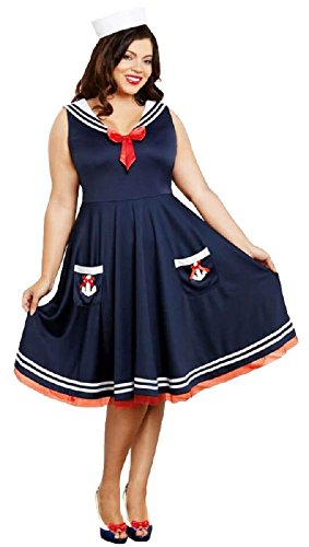 Dreamgirl Women's All All Aboard Plus Size, Blue, -