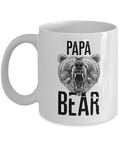 Papa Bear Coffee & Tea Gift Mug, Gifts from a Daughter, Son or Wife To Greet Dad A Happy Fathers Day, Best Ideas & Party Supplies for Men
