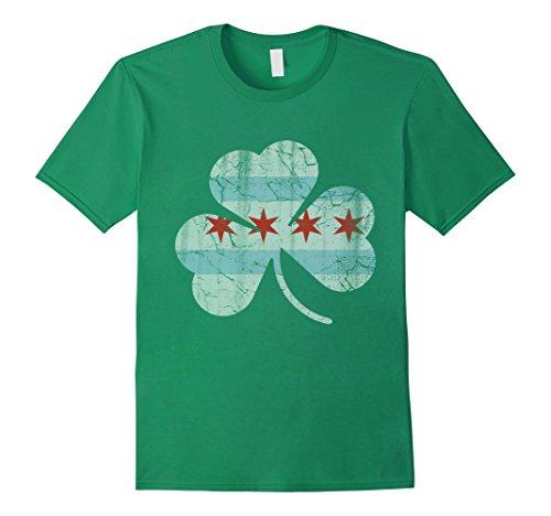 Mens Chicago Flag Irish Shamrock Shirt XL Kelly - Shop Irish Chicago