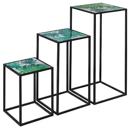 The Look - Set di 3 tavolini Alti con Motivo a Foglie Verdi ...