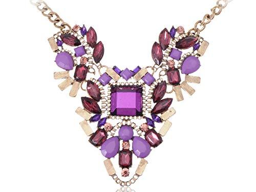 (Golden Tone Chunky Geometric Purple Bead Crystal Rhinestone Necklace)