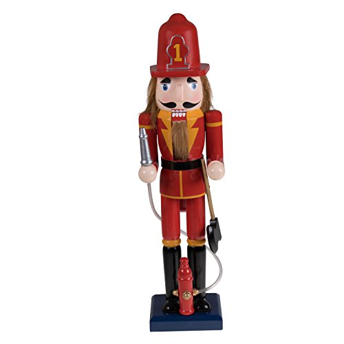 Clever Creations Fireman Nutcracker Festive Christmas Decor | Red and Yellow Painted Uniform | 100% Real Wood Collectible Nutcracker | Equipped with Hydrant with Plastic Hose | 15