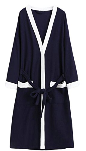 Cromoncent Mens Hotel Cotton Homewear Bathrobe Spa Waffle Kimono Comfort Robe Navy Blue2 Large by Cromoncent (Image #2)