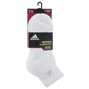 adidas Women's Cushioned Quarter Socks (Pack of 3), White/White, One Size