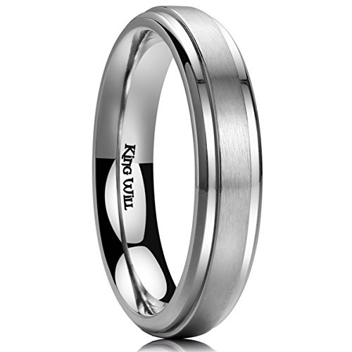 King Will Basic 4mm Mens Titanium Wedding Ring Brushed Finished Wedding Band Comfort Fit Stepped Edge8.5