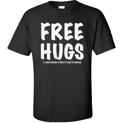 FREE HUGS Short Sleeve T-Shirt in Black – X-Large