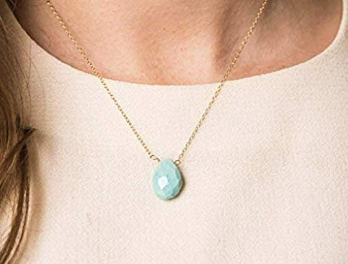 - Delicate Sleeping Beauty Turquoise Gemstone Necklace on 14K Gold Filled Chain