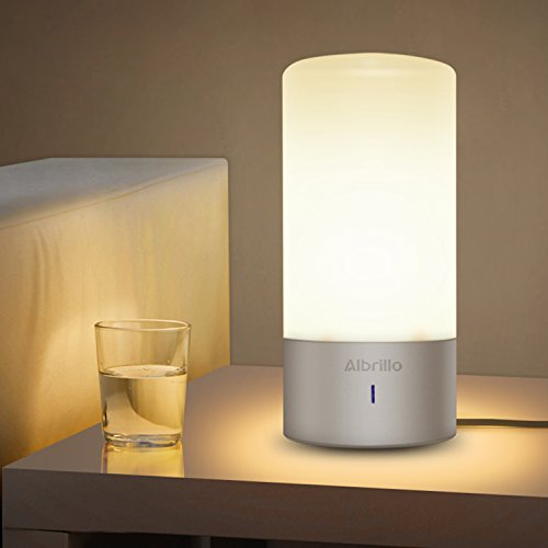 Albrillo Dimmable Bedside Lamp with Touch Sensor and Color Changing Modes - Warm White