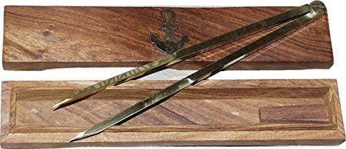 linoows Marinezirkel, Einhand-Zirkel, Kartenzirkel, Stechzirkel in maritimer Holzbox