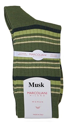 Marcoliani Women's Merino Multi-Stripe Italian Ankle/Trouser Socks 1 Pair Musk