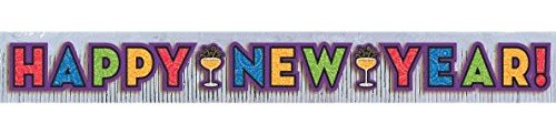 Amscan Sparkling Jewel Tones New Year Party Foil Fringe Banner with Glitter Paper Letters Decoration (1 Piece), Multicolor, 9'