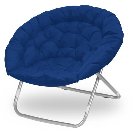 Oversized Large Wide Folding Navy Blue Adult Saucer Chair for Dorms and TV Rooms