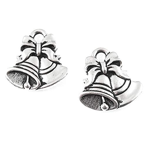TierraCast Pewter Charms-Silver Christmas Bells (2)