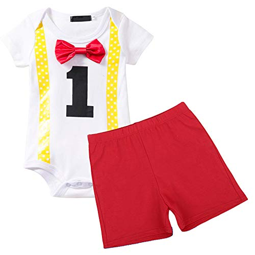 (Baby Boys 1st Birthday Outfit Short Sleeve Bodysuit 2PCS Gentleman Romper Bow-tie Pants Party Photography Clothes Set Red)