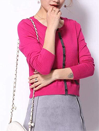 Single Comodo Vita Primaverile Giacca Moda Maniche Maglia Donna Tempo Pullover Giacche A Chic Coat Outwear Elegante Alta Autunno Corto Lunghe Breasted Libero Pink Ragazza paXqxTw