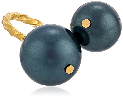 Giles and Brother Double Bypass Gold Tone Black Pearl Ring, Size 5